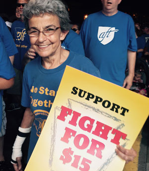 Marcher at Fight for $15 March