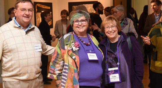 Fran Barrett, Maureen McHugh and friend at Chatham Feminist Alumni Opening Reception